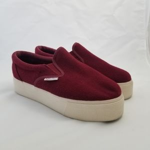 Superga Wool Blend Platforn Slip on Sneakers Red